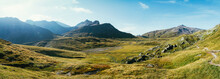 Alpine Greina High Plain On Sunny Summer Day (Grisons, Switzerland)