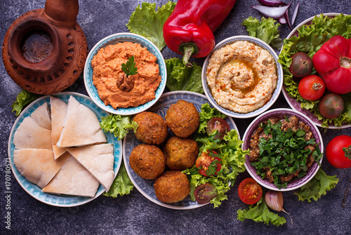 Photo  Selection of Middle eastern or Arabic dishes.