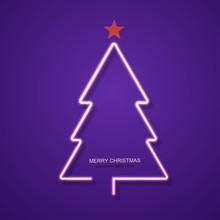Vector Modern Neon Christmas Tree Background.