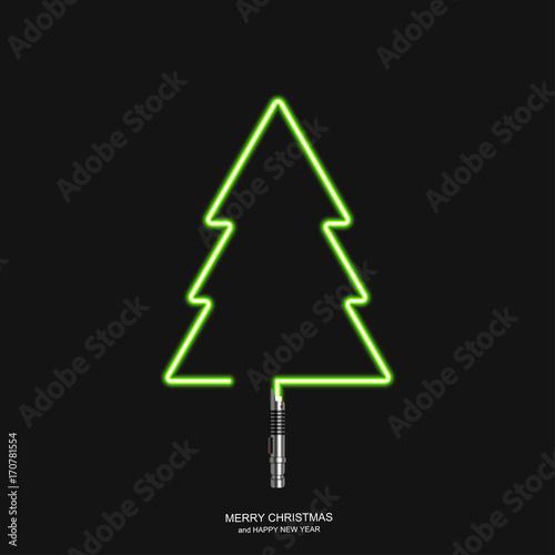 Fotografie, Obraz Vector modern concept Christmas tree and light swords