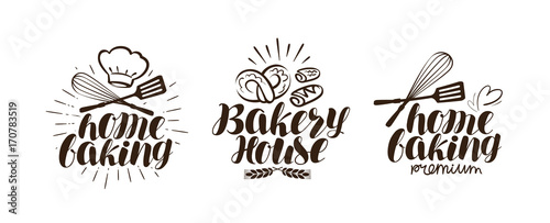 Photo Bakery, bakehouse logo or label. Home baking lettering