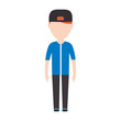 avatar man standing icon over white background colorful design vector illustration