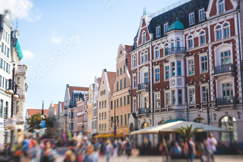 Fotomural View of Rostock city old town market square with Town Hall, historical center, G