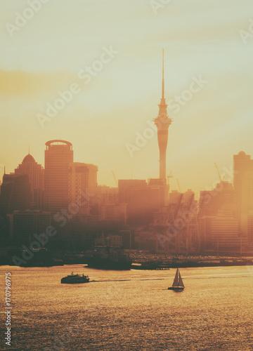 Fotobehang Dubai Golden sunset at Auckland city, New Zealand.