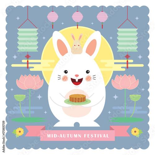 Mid autumn festival greeting card tempalte cute cartoon rabbit mid autumn festival greeting card tempalte cute cartoon rabbit holding mooncake with lanterns lotus m4hsunfo