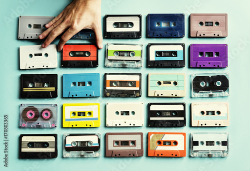 Photo  Cassette tape vintage style collection