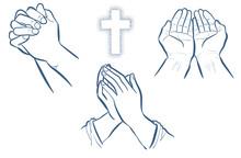 祈りの手3セット・線画