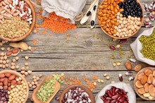 Various Dry Legumes On A Wooden Table. Copyspace Background.Top View.