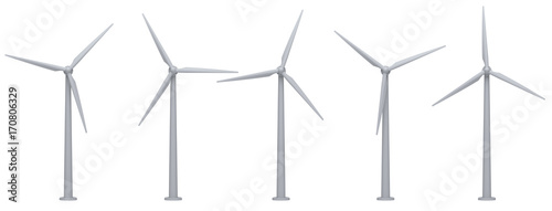 Cuadros en Lienzo wind turbines isolated on white background
