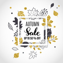 Autumn Sale Template Poster, Black And Gold Color, Hand Drawn Style, Vector Illustration