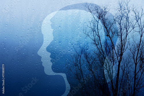 Obraz Sadness in Life Concept, Present by Silhouette Shape of Man and Woman combinated with Old Dry Tree and Rain, Blue Filter Effect - fototapety do salonu