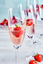 Pink Champagne With Fresh Ripe...
