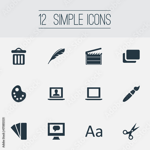 Vector Illustration Set Of Simple Design Icons  Elements Garbage