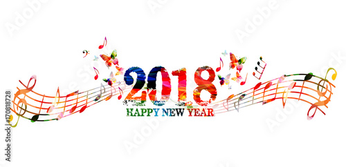 Happy New Year 2018 colorful lettering template design background ...