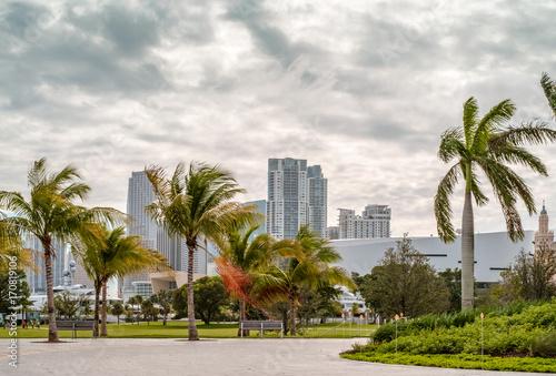 Plakat widok na centrum Miami w pochmurny i wietrzny dzień.