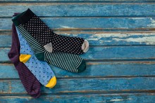 High Angle View Of Socks