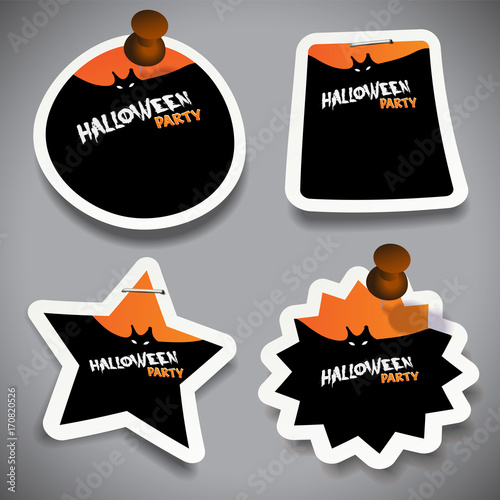 Fotografie, Obraz  Set of Halloween Paper Cut Tags, Labels or Speech Bubbles with Flying Bats Illus