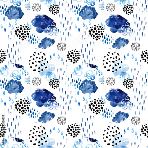Watercolor fall shower seamless pattern.
