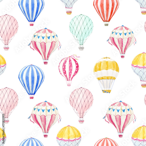 Fotografia, Obraz  Watercolor air baloon vector pattern
