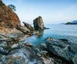 Huge rocks, cliffs and rocks along the coast.