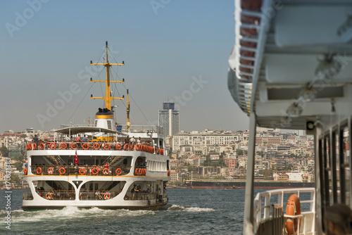 Public Sea Transportation At Bosphorus, Istanbul, Turkey Poster