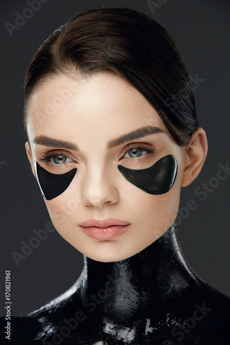 Fototapety, obrazy: Face Care. Woman With Patches On Skin Under Eyes