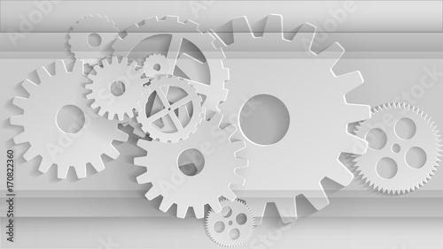 Fototapety, obrazy: Gears mechanism. Industrial grey background Vector illustration