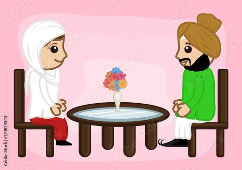 Fényképezés  Cartoon Punjabi Couple in Restaurant