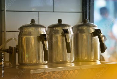 Foto op Aluminium Milkshake Boiling Tea Kettles At Restaurant
