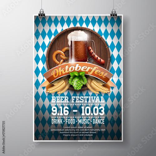 Oktoberfest Poster Vector Illustration With Fresh Dark Beer On Blue