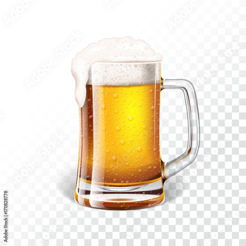 Papel de parede  Vector illustration with fresh lager beer in a beer mug on transparent background