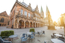 View On The Market Square With City Hall And Saint Peter Cathedral During The Morning Light In Bremen City, Germany