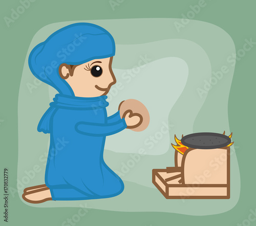 Cartoon Indian Desi Woman Cooking Handmade Clip Art Buy This Stock Vector And Explore Similar Vectors At Adobe Stock Adobe Stock