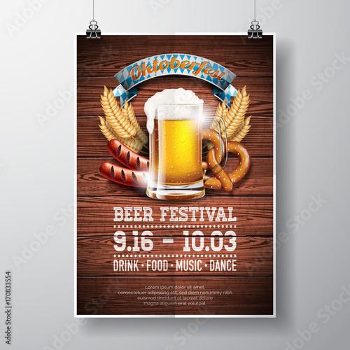 Oktoberfest Poster Vector Illustration With Fresh Lager Beer On Wood