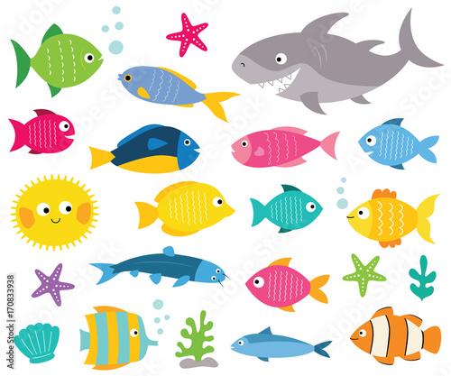 Fotografie, Tablou  Cartoon fishes set, isolated design elements