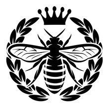 Vector Monochrome Pattern With Flying Bee And Crown