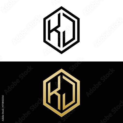 Initial Letters Logo Kj Black And Gold Monogram Hexagon Shape Vector Buy This Stock Vector And Explore Similar Vectors At Adobe Stock Adobe Stock
