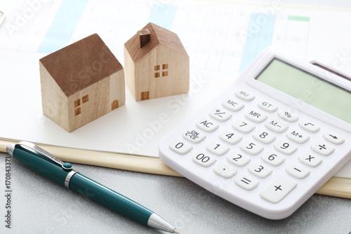 Fotografia, Obraz  住宅模型 計算機