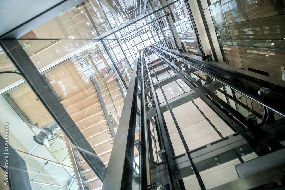 Fototapety, obrazy: transparent lift modern elevator shaft glass building