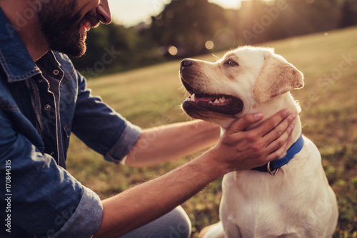 Man with dog Canvas Print