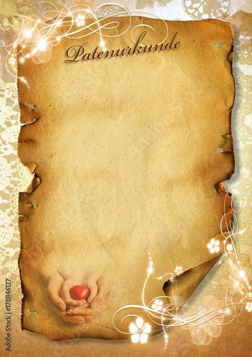 Vorlage Für Patenurkunde Patenbrief Für Patentante Urkunde