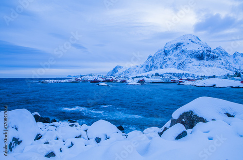 Deurstickers Noord Europa Winter landscape, Lofoten islands, Norway