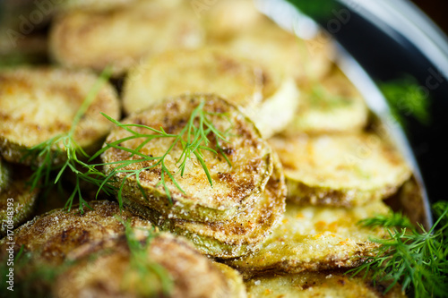 zucchini roasted slices in a plate
