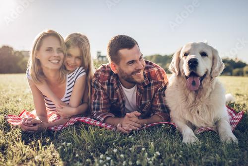 Fototapeta Happy family with dog obraz