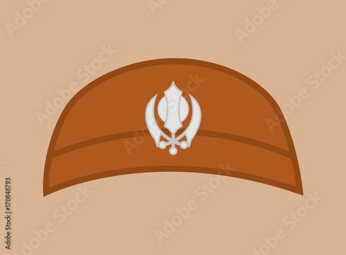 Vector Of Khalsa Turban Khanda Symbol Cap Buy This Stock Vector