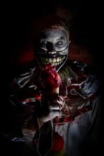 Horror Clown Eating Heart Ice ...