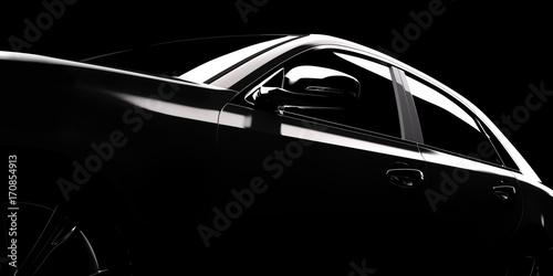 Foto Modern car silhouette in spotlight