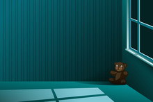 A Brown Teddy-bear Left Alone In The Corner Of A Dark Empty Room At Night, With Light Squares From The Window On The Floor