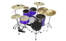 Isolated Blue Drums Back View
