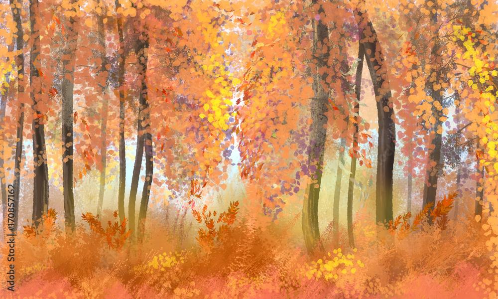 Illustration of Autumn Forest. Digital Art.